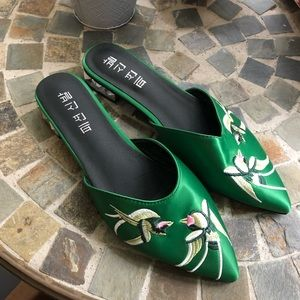 Green Embroidered Pointed Toe Slides